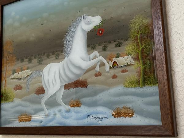 White Horse with Red Flower